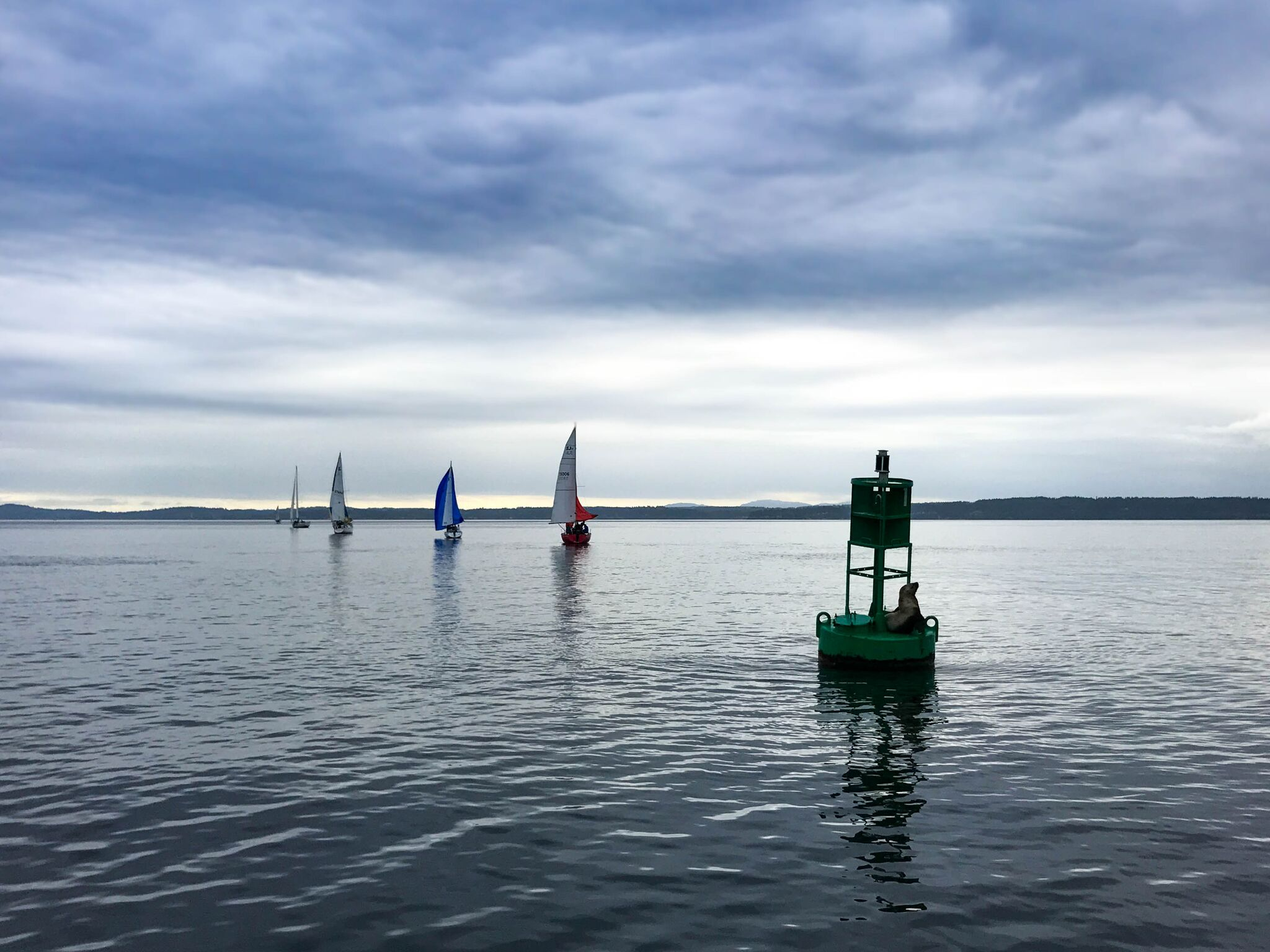channel marker and boats